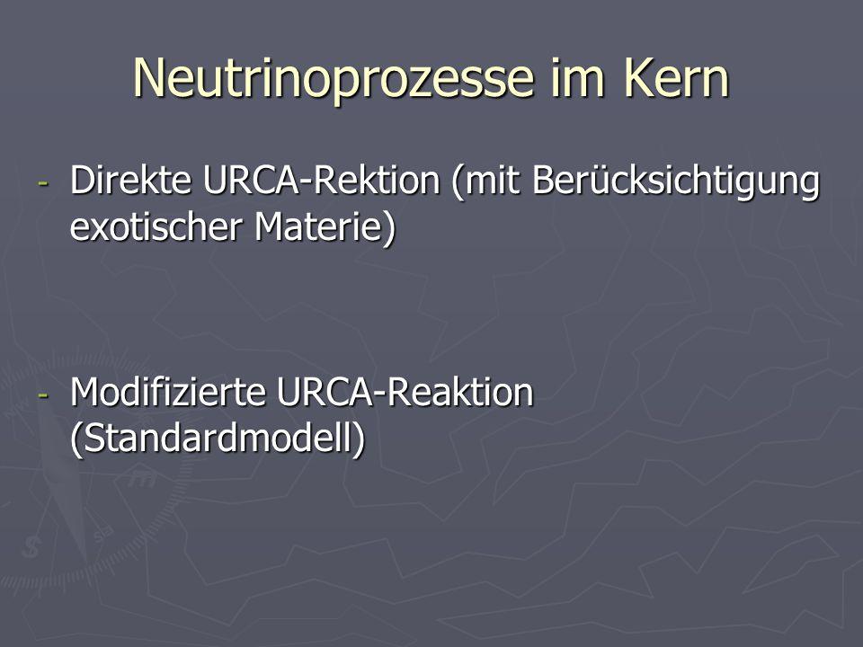 Neutrinoprozesse im Kern - Direkte URCA-Rektion (mit Berücksichtigung exotischer Materie) - Modifizierte URCA-Reaktion (Standardmodell)