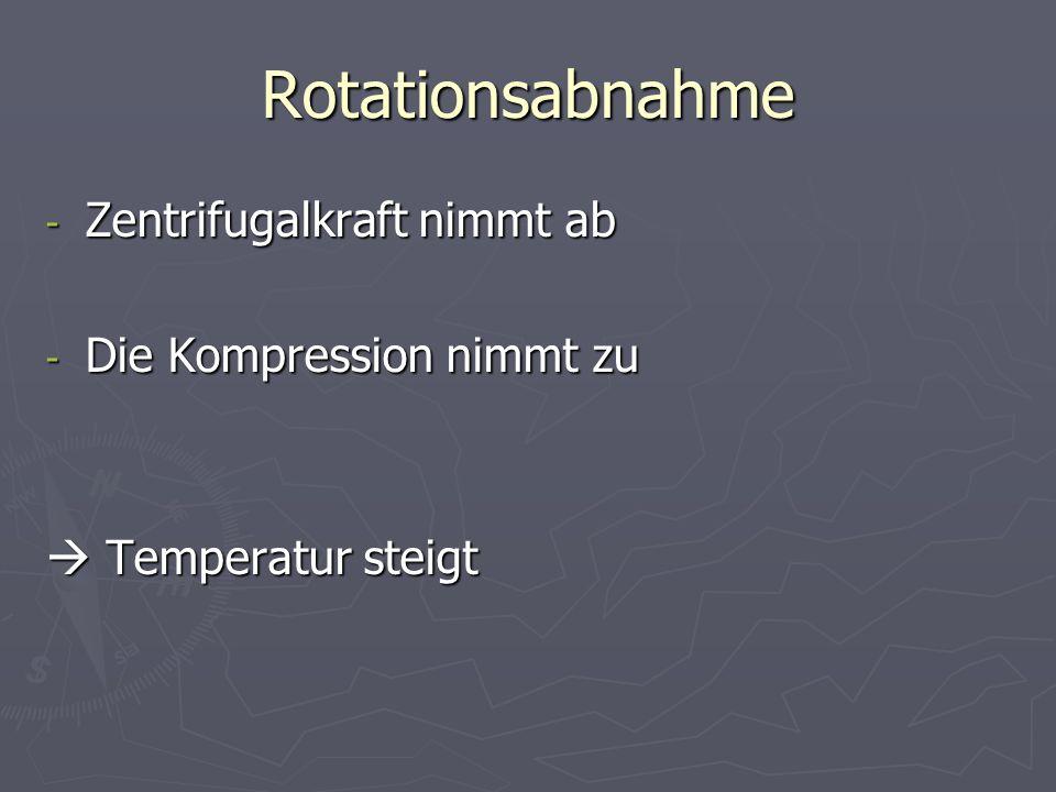 Rotationsabnahme - Zentrifugalkraft nimmt ab - Die Kompression nimmt zu Temperatur steigt Temperatur steigt
