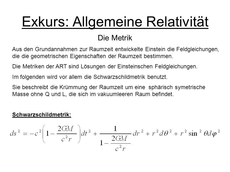 Exkurs: Allgemeine Relativität Die Metrik Aus den Grundannahmen zur Raumzeit entwickelte Einstein die Feldgleichungen, die die geometrischen Eigenscha