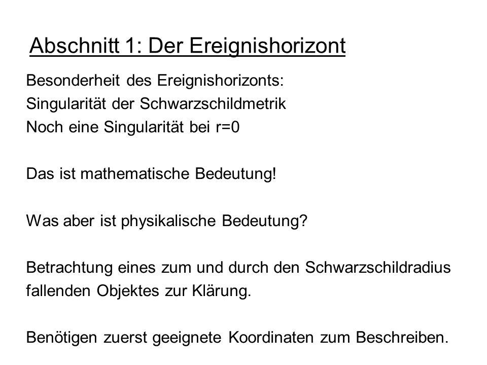 Abschnitt 1: Der Ereignishorizont Besonderheit des Ereignishorizonts: Singularität der Schwarzschildmetrik Noch eine Singularität bei r=0 Das ist math