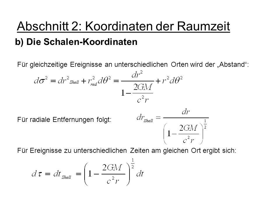 Abschnitt 2: Koordinaten der Raumzeit b) Die Schalen-Koordinaten Für gleichzeitige Ereignisse an unterschiedlichen Orten wird der Abstand: Für radiale