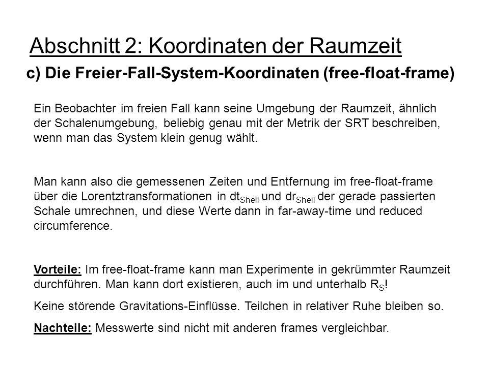 Abschnitt 2: Koordinaten der Raumzeit c) Die Freier-Fall-System-Koordinaten (free-float-frame) Ein Beobachter im freien Fall kann seine Umgebung der R