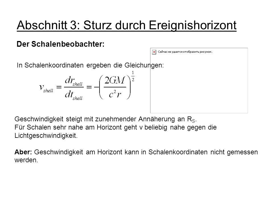 Abschnitt 3: Sturz durch Ereignishorizont Der Schalenbeobachter: In Schalenkoordinaten ergeben die Gleichungen: Geschwindigkeit steigt mit zunehmender