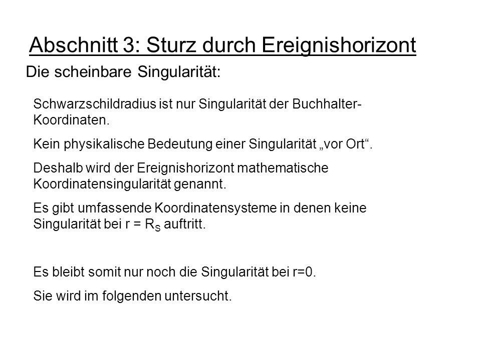 Abschnitt 3: Sturz durch Ereignishorizont Die scheinbare Singularität: Schwarzschildradius ist nur Singularität der Buchhalter- Koordinaten. Kein phys