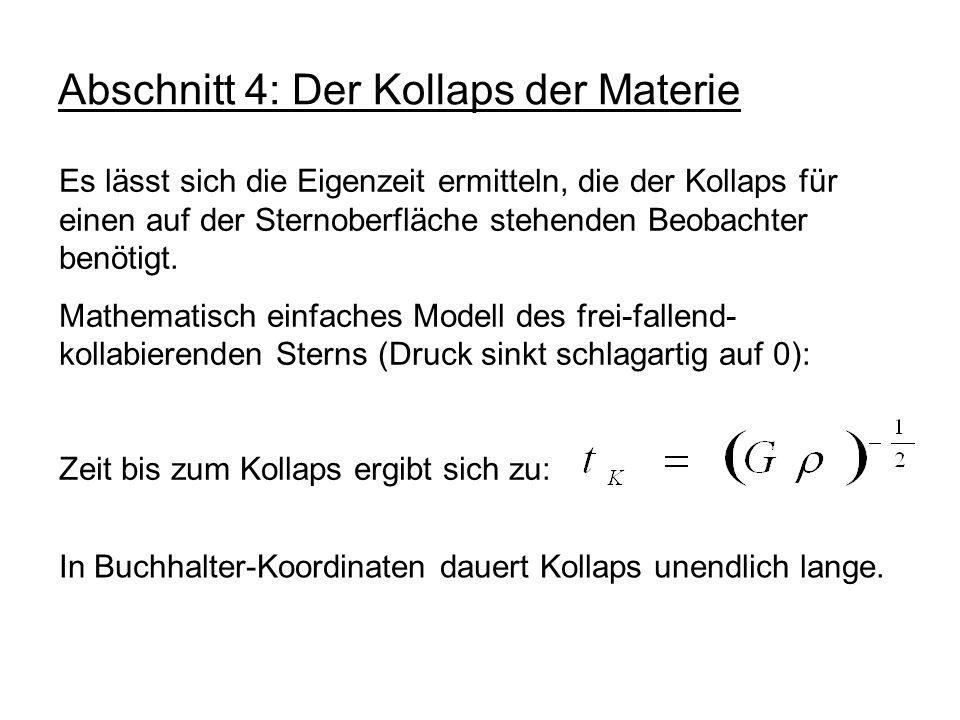 Abschnitt 4: Der Kollaps der Materie Es lässt sich die Eigenzeit ermitteln, die der Kollaps für einen auf der Sternoberfläche stehenden Beobachter ben