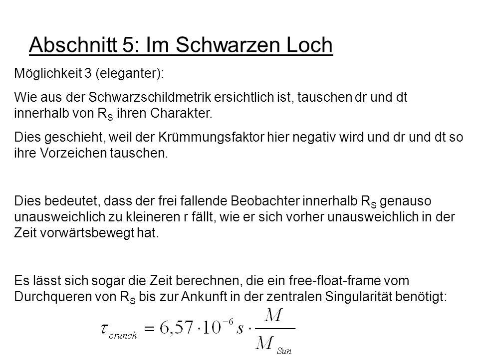 Abschnitt 5: Im Schwarzen Loch Möglichkeit 3 (eleganter): Wie aus der Schwarzschildmetrik ersichtlich ist, tauschen dr und dt innerhalb von R S ihren