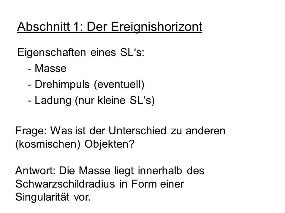 Abschnitt 1: Der Ereignishorizont Eigenschaften eines SLs: - Masse - Drehimpuls (eventuell) - Ladung (nur kleine SLs) Frage: Was ist der Unterschied z