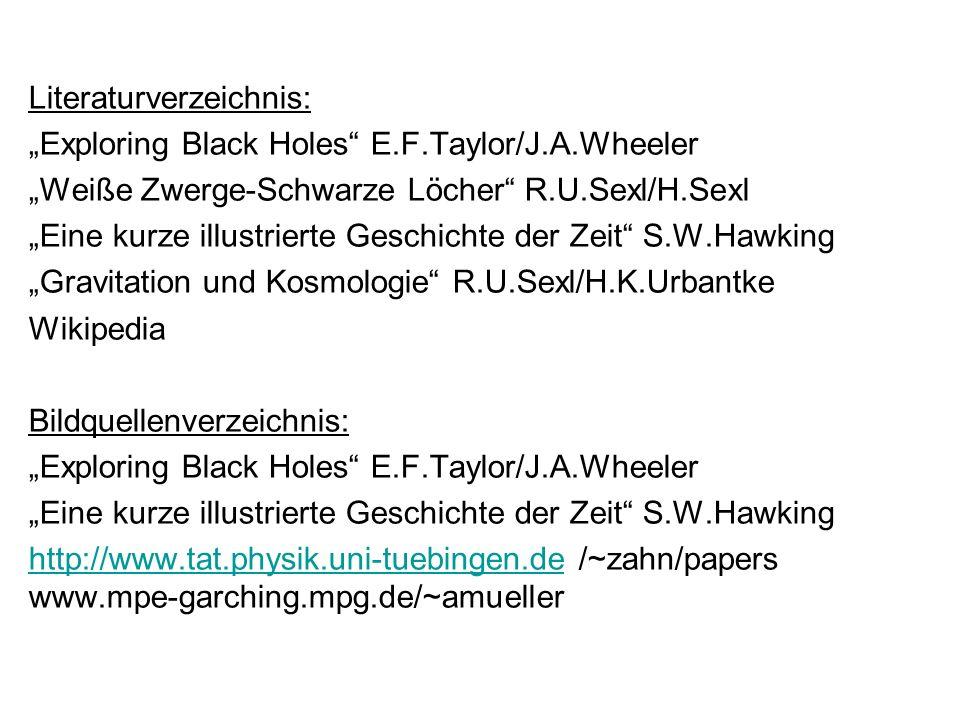 Literaturverzeichnis: Exploring Black Holes E.F.Taylor/J.A.Wheeler Weiße Zwerge-Schwarze Löcher R.U.Sexl/H.Sexl Eine kurze illustrierte Geschichte der