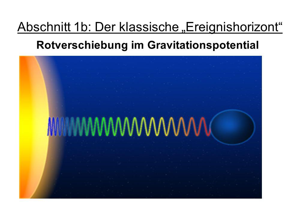 Abschnitt 1b: Der klassische Ereignishorizont Rotverschiebung im Gravitationspotential