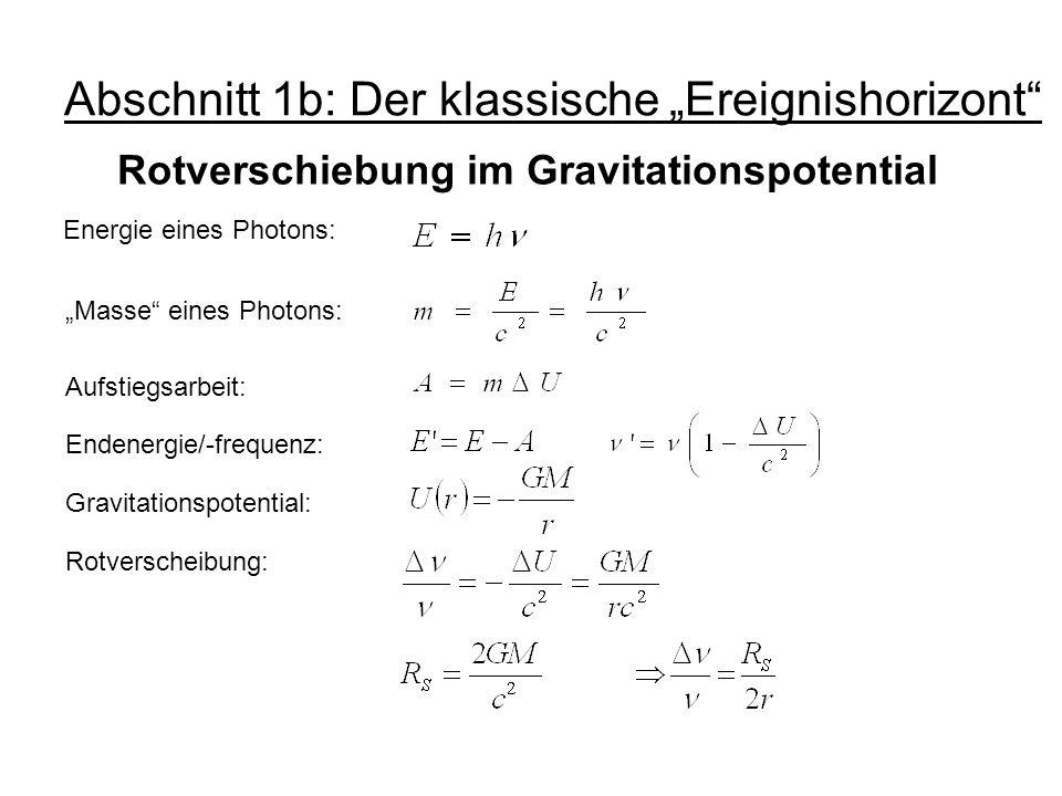 Abschnitt 1b: Der klassische Ereignishorizont Rotverschiebung im Gravitationspotential Energie eines Photons: Masse eines Photons: Aufstiegsarbeit: En