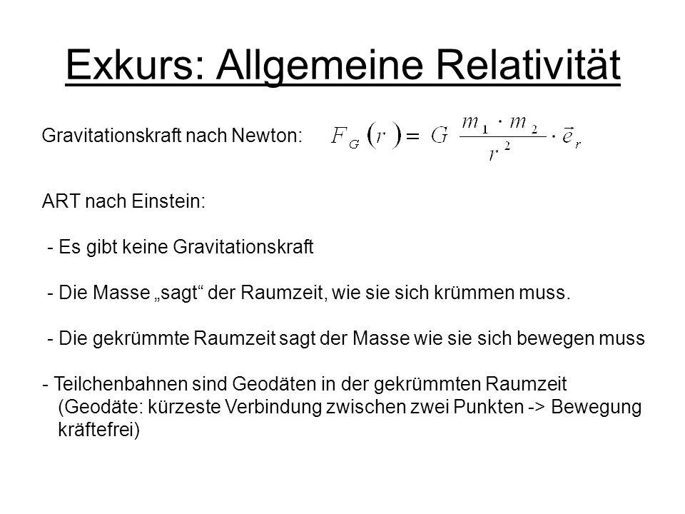 Exkurs: Allgemeine Relativität Gravitationskraft nach Newton: ART nach Einstein: - Es gibt keine Gravitationskraft - Die Masse sagt der Raumzeit, wie