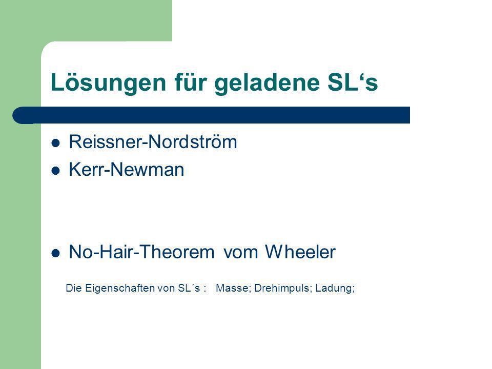 Lösungen für geladene SLs Reissner-Nordström Kerr-Newman No-Hair-Theorem vom Wheeler Die Eigenschaften von SL´s : Masse; Drehimpuls; Ladung;