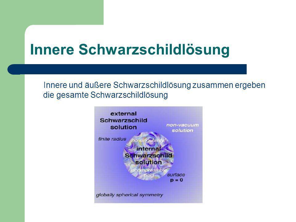 Innere Schwarzschildlösung Innere und äußere Schwarzschildlösung zusammen ergeben die gesamte Schwarzschildlösung
