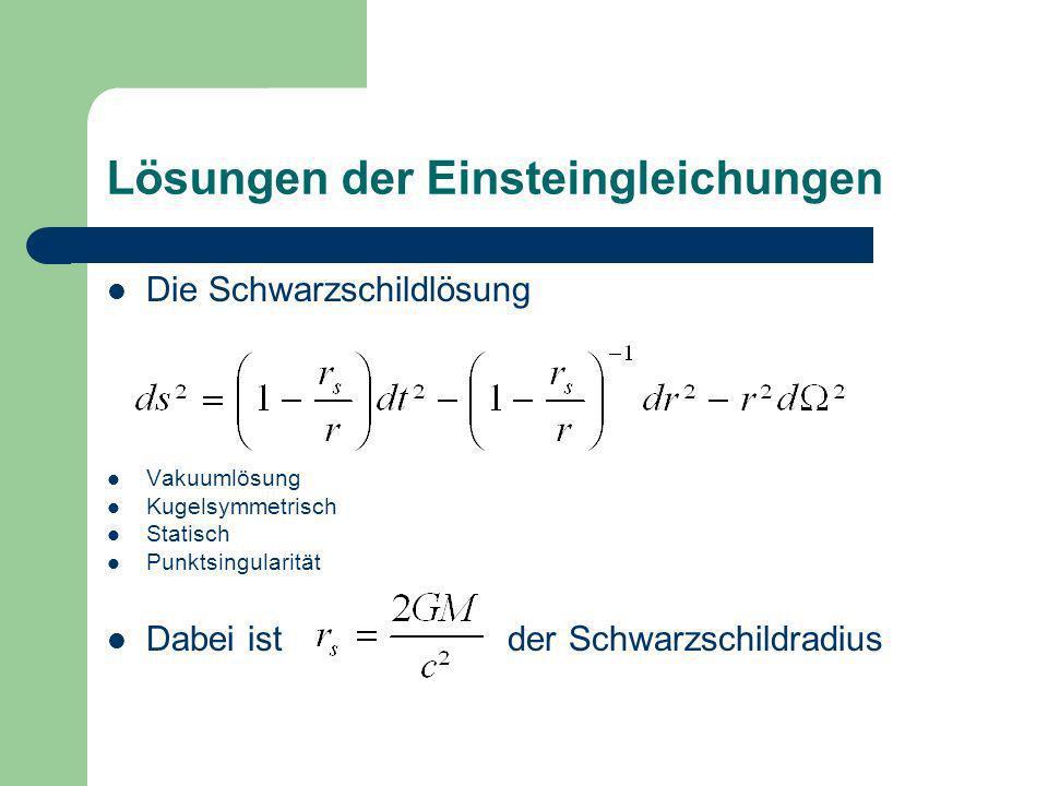 Lösungen der Einsteingleichungen Die Schwarzschildlösung Vakuumlösung Kugelsymmetrisch Statisch Punktsingularität Dabei ist der Schwarzschildradius
