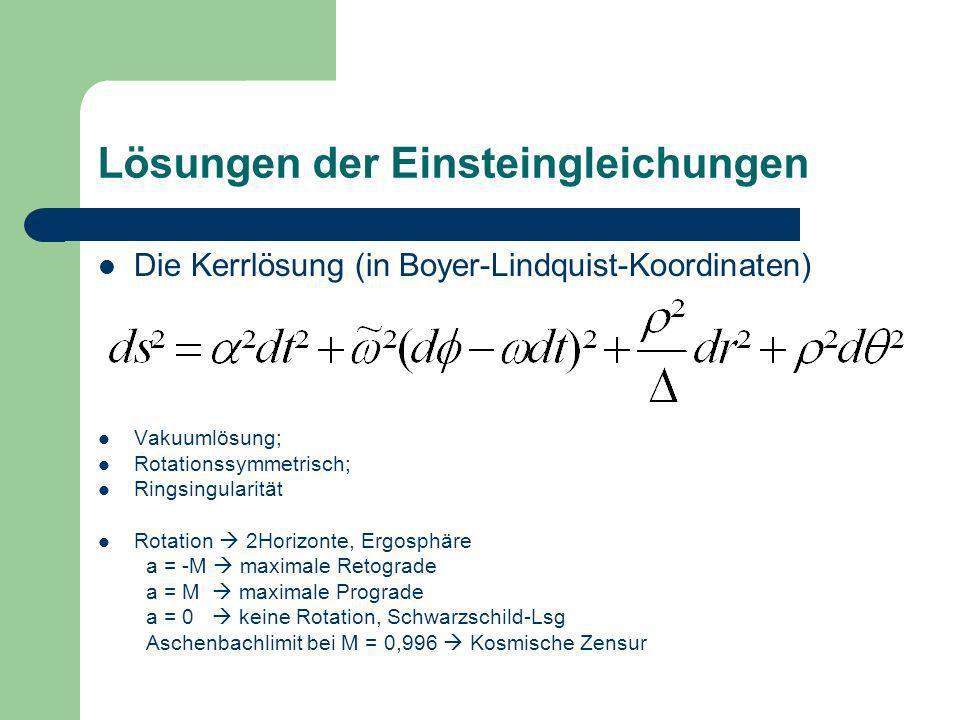Lösungen der Einsteingleichungen Die Kerrlösung (in Boyer-Lindquist-Koordinaten) Vakuumlösung; Rotationssymmetrisch; Ringsingularität Rotation 2Horizo