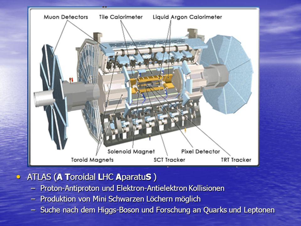 CMS (Compact Muon Solenoid) CMS (Compact Muon Solenoid) –Kollision von Protonen bei bis zu 14 TeV –Messung der entstehenden Elektronen, Photonen und Myonen –Entdeckung von Schwarzen Löchern möglich –Erforschung von SuSy-Teilchen und Suche nach Higgs-Boson
