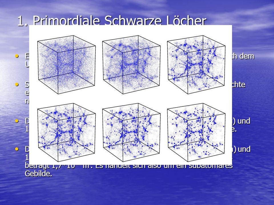 1. Primordiale Schwarze Löcher Entstehung in der post-inflationären Ära (ca. 5*10 -24 sec. nach dem Urknall) Entstehung in der post-inflationären Ära