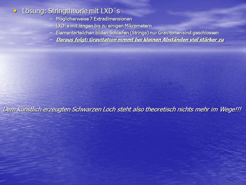 Lösung: Stringtheorie mit LXD´s Lösung: Stringtheorie mit LXD´s –Möglicherweise 7 Extradimensionen –LXD`s mit längen bis zu einigen Mikrometern –Eleme