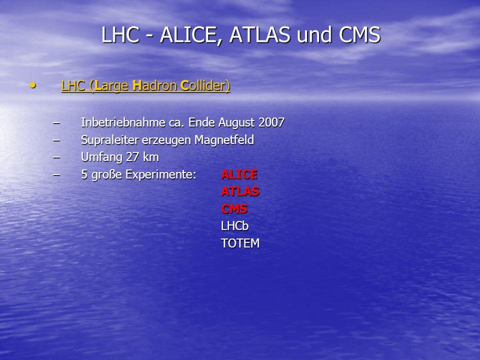 ALICE (A Large Ion Collider Experiment) ALICE (A Large Ion Collider Experiment) –Hier werden vor allem größere Kerne (Bleiionen) zur Kollision gebracht –Daher Mini Schwarze Löcher unwahrscheinlich –Forschung am Quark-Gluonen-Plasma, Simulation der Zeit unmittelbar nach dem Urknall