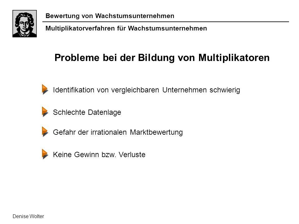Bewertung von Wachstumsunternehmen Multiplikatorverfahren für Wachstumsunternehmen Denise Wolter Probleme bei der Bildung von Multiplikatoren Identifi