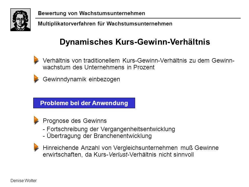 Bewertung von Wachstumsunternehmen Multiplikatorverfahren für Wachstumsunternehmen Denise Wolter Dynamisches Kurs-Gewinn-Verhältnis Verhältnis von tra