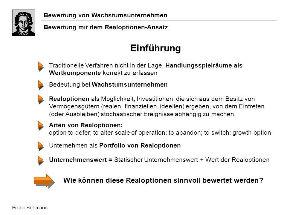 Bewertung von Wachstumsunternehmen Bruno Hohmann Einführung Traditionelle Verfahren nicht in der Lage, Handlungsspielräume als Wertkomponente korrekt