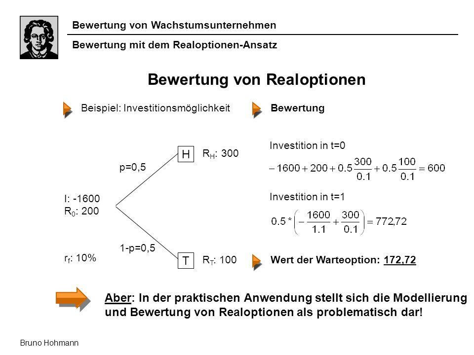 Bewertung von Wachstumsunternehmen Bruno Hohmann Bewertung von Realoptionen Beispiel: Investitionsmöglichkeit Bewertung mit dem Realoptionen-Ansatz Ab