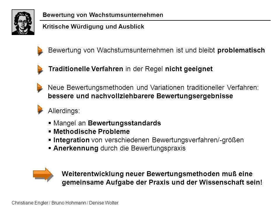 Bewertung von Wachstumsunternehmen Christiane Engler / Bruno Hohmann / Denise Wolter Bewertung von Wachstumsunternehmen ist und bleibt problematisch A