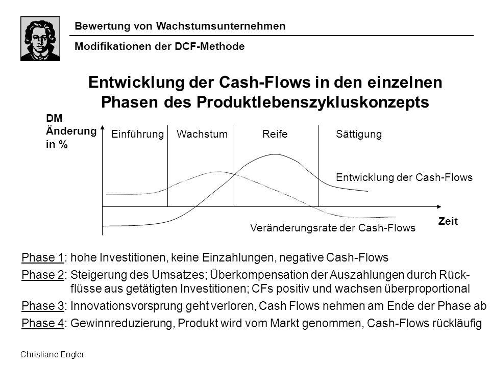 Bewertung von Wachstumsunternehmen Zeit DM Änderung in % EinführungWachstumReifeSättigung Entwicklung der Cash-Flows Veränderungsrate der Cash-Flows P