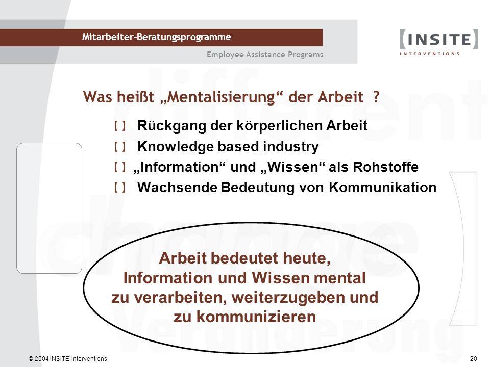 © 2004 INSITE-Interventions Mitarbeiter-Beratungsprogramme Employee Assistance Programs 20 Arbeit bedeutet heute, Information und Wissen mental zu ver