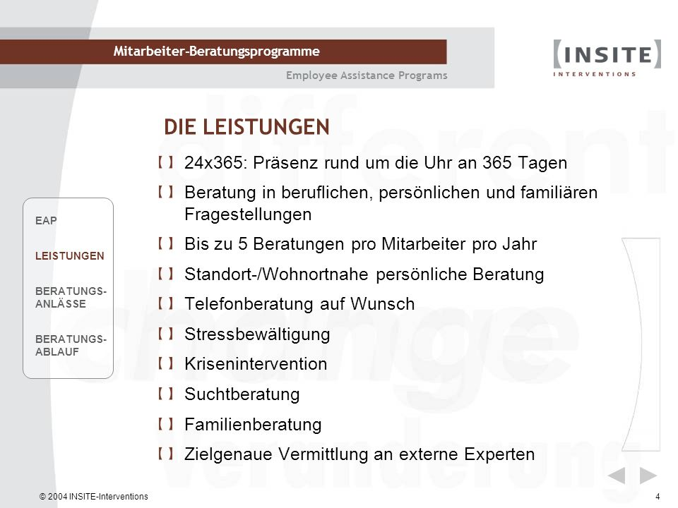 © 2004 INSITE-Interventions Mitarbeiter-Beratungsprogramme Employee Assistance Programs 4 DIE LEISTUNGEN 24x365: Präsenz rund um die Uhr an 365 Tagen