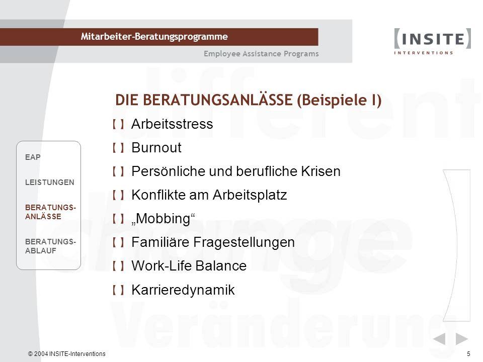 © 2004 INSITE-Interventions Mitarbeiter-Beratungsprogramme Employee Assistance Programs 5 DIE BERATUNGSANLÄSSE (Beispiele I) Arbeitsstress Burnout Per