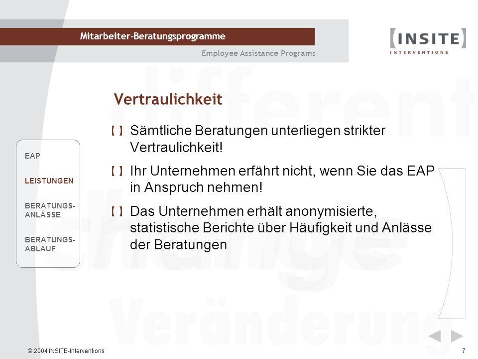 © 2004 INSITE-Interventions Mitarbeiter-Beratungsprogramme Employee Assistance Programs 18 Der Psychologische Vertrag VertragregeltInhalte Arbeitsvertrag Förmliche Beziehung zw.