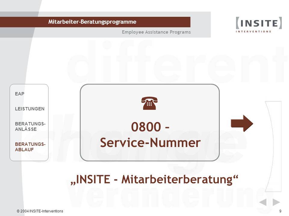 © 2004 INSITE-Interventions Mitarbeiter-Beratungsprogramme Employee Assistance Programs 9 INSITE - Mitarbeiterberatung 0800 – Service-Nummer EAP LEIST