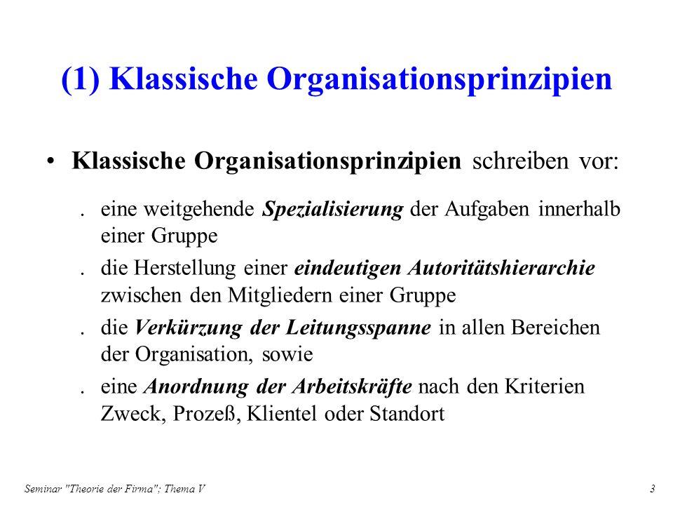 Seminar Theorie der Firma ; Thema V 14 (3.2) Planung Planung als Instrument organisatorischer Beeinflussung –läßt Beteiligung der untergeordneten Spezialisten zu –stellt die formale Autoritätshierarchie in den Hintergrund –ist selbst eine Kontrollmaßnahme