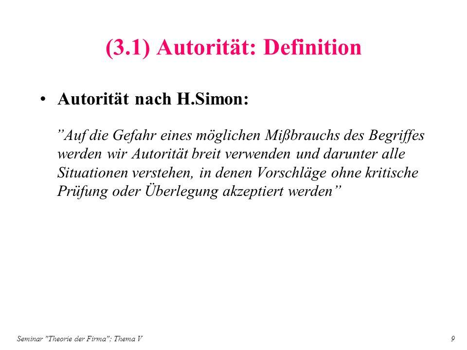 Seminar Theorie der Firma ; Thema V 10 (3.1) Autorität: Sanktionen der Autorität Sanktionen der Autorität: –Klassische Strafsanktionen (z.B.