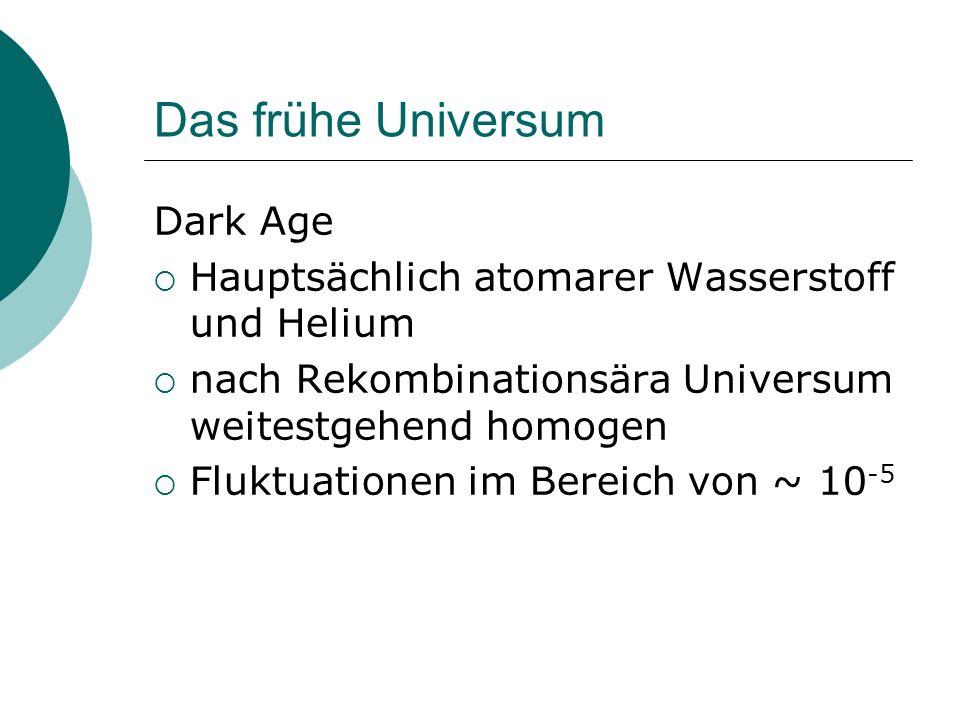 Das frühe Universum Dark Age Hauptsächlich atomarer Wasserstoff und Helium nach Rekombinationsära Universum weitestgehend homogen Fluktuationen im Ber
