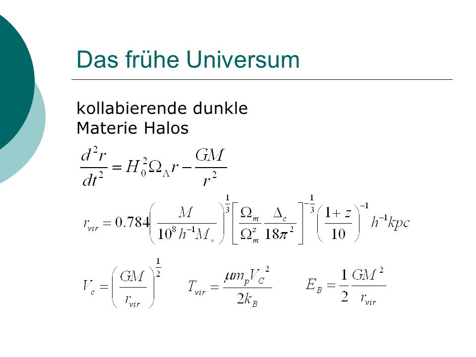 Das frühe Universum kollabierende dunkle Materie Halos