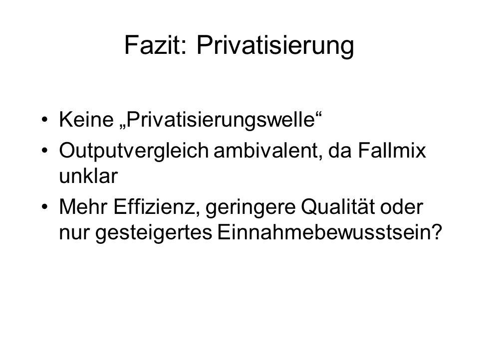 Fazit: Privatisierung Keine Privatisierungswelle Outputvergleich ambivalent, da Fallmix unklar Mehr Effizienz, geringere Qualität oder nur gesteigertes Einnahmebewusstsein?