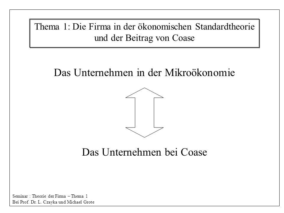 Übersicht: Begriff der Unternehmung vollkommende Märkte Preismechanismus Das Unternehmen in der Mikroökonomie Der Ansatz von Coase Organisationsformen die Entstehung von U.