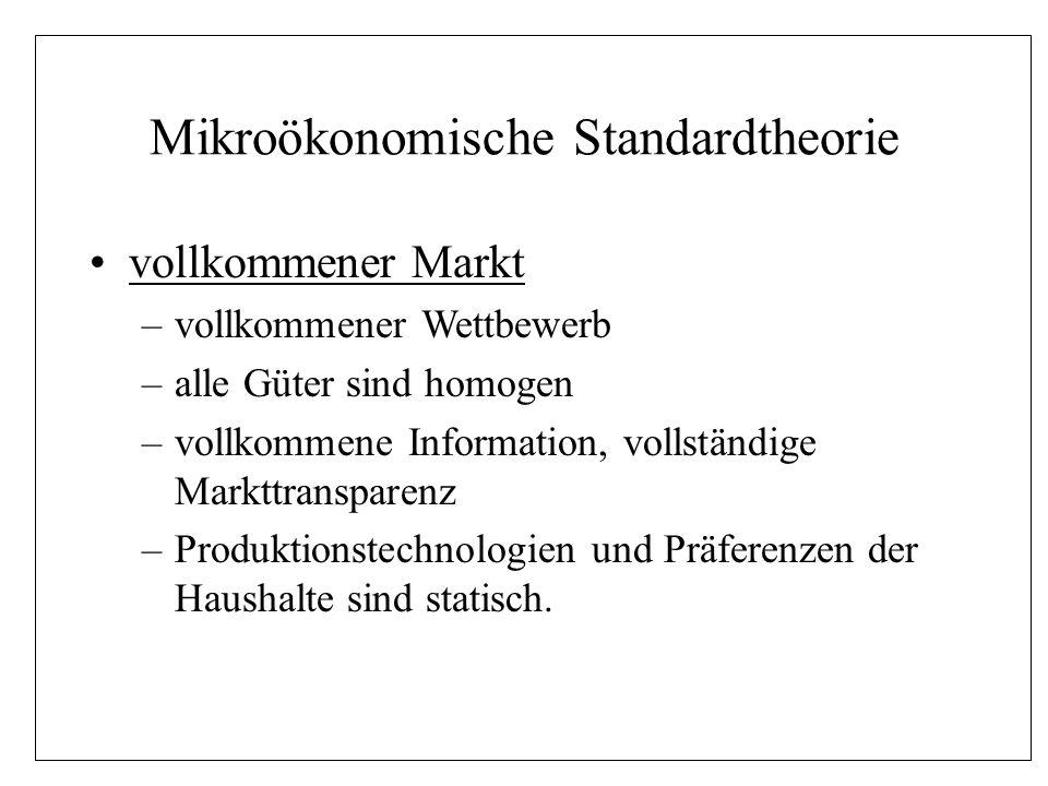 Mikroökonomische Standardtheorie der Preismechanismus –Marktgleichgewicht durch Wettbewerbsprozeß –Ausgleich von Angebot und Nachfrage zum Gleichgewichtspreis durch unsichtbare Hand –Preismechanismus erfüllt die Koordinations- funktion im marktwirtschaftlichen System –Preismechanismus bestimmt die Allokation der Ressourcen