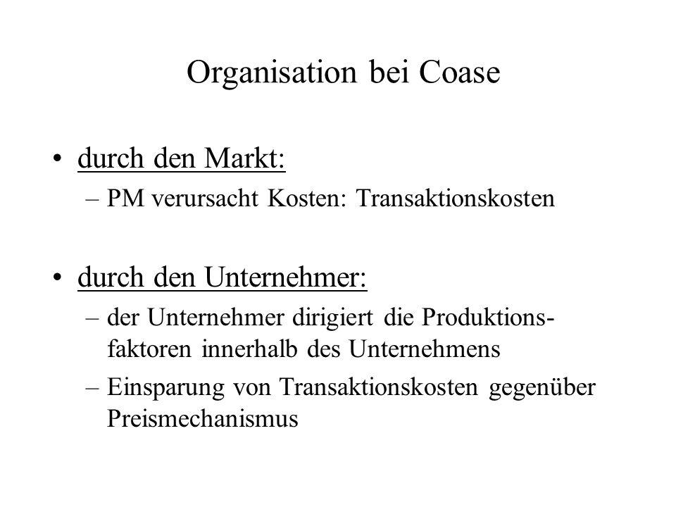 Organisation bei Coase durch den Markt: –PM verursacht Kosten: Transaktionskosten durch den Unternehmer: –der Unternehmer dirigiert die Produktions- faktoren innerhalb des Unternehmens –Einsparung von Transaktionskosten gegenüber Preismechanismus