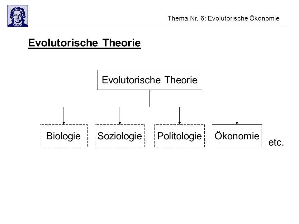 Thema Nr. 6: Evolutorische Ökonomie Evolutorische Theorie BiologieSoziologiePolitologieÖkonomie etc.