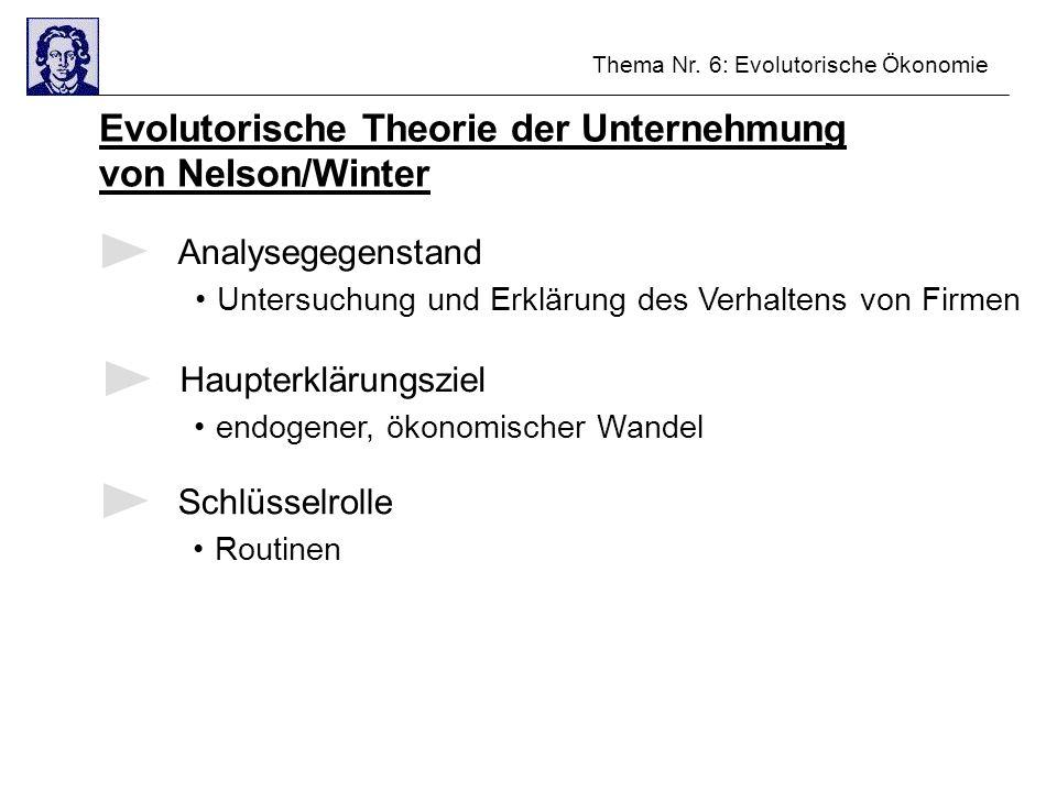 Thema Nr. 6: Evolutorische Ökonomie Evolutorische Theorie der Unternehmung von Nelson/Winter Analysegegenstand Untersuchung und Erklärung des Verhalte