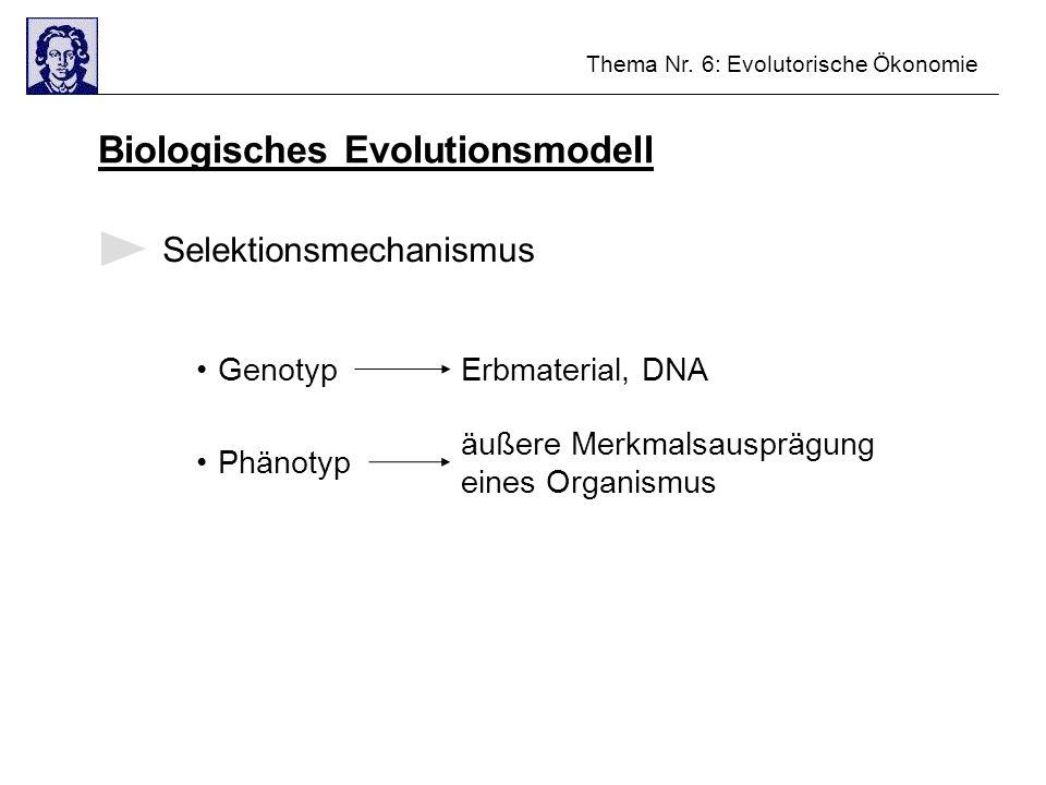 Thema Nr. 6: Evolutorische Ökonomie Biologisches Evolutionsmodell Selektionsmechanismus GenotypErbmaterial, DNA Phänotyp äußere Merkmalsausprägung ein