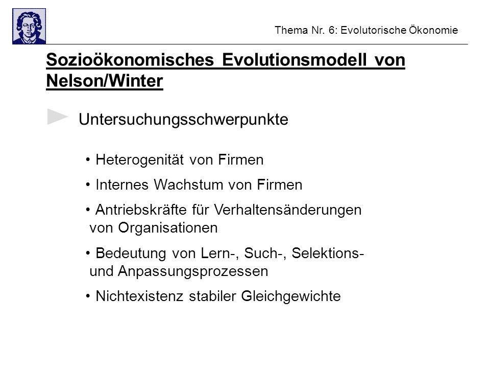 Thema Nr. 6: Evolutorische Ökonomie Sozioökonomisches Evolutionsmodell von Nelson/Winter Untersuchungsschwerpunkte Heterogenität von Firmen Internes W