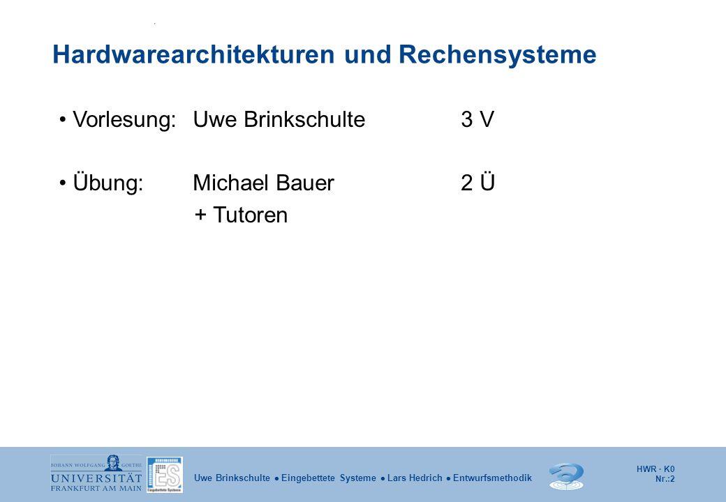 HWR · K0 Nr.:2 Uwe Brinkschulte Eingebettete Systeme Lars Hedrich Entwurfsmethodik Vorlesung: Uwe Brinkschulte3 V Übung: Michael Bauer2 Ü + Tutoren Ha