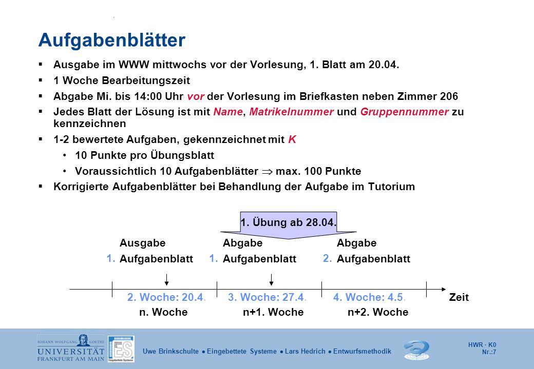 HWR · K0 Nr.:8 Uwe Brinkschulte Eingebettete Systeme Lars Hedrich Entwurfsmethodik Bewertung der Aufgabenblätter / Klausur Klausur 10 % der Gesamtklausurpunkte können maximal als Bonuspunkte aus den Übungsaufgaben erworben werden.