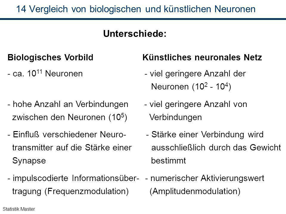 Statistik Master 14 Vergleich von biologischen und künstlichen Neuronen Unterschiede: Biologisches Vorbild Künstliches neuronales Netz - ca. 10 11 Neu