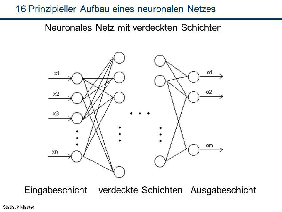 Statistik Master 16 Prinzipieller Aufbau eines neuronalen Netzes Neuronales Netz mit verdeckten Schichten Eingabeschicht verdeckte Schichten Ausgabesc